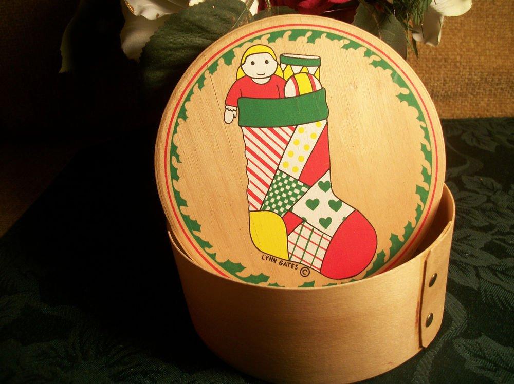 Round Wood Christmas Box, Artist Lynn Gates Vintage 1980's Stocking Doll Drum