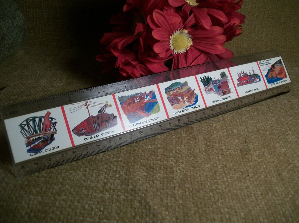 "Plastic Ruler 12"" VTG Travel Souvenir Sights and Attractions from Oregon USA"