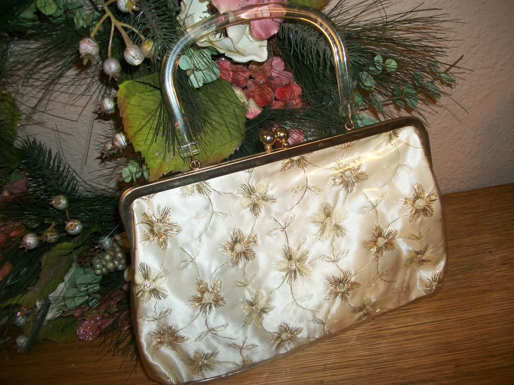 Semi-Formal Day Handbag Elegant VTG 1960's Purse Gold Ivory Metal Vinyl Mod Bag