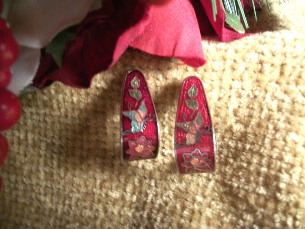 Red Cloisonne Drop Down Earrings, Vintage Enamel Jewelry, Flowers Butterfly