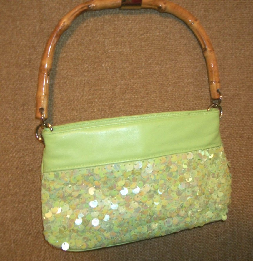 LIME GREEN Sequined and Beaded Purse SONDRA ROBERTS Bamboo Handled Hand Bag