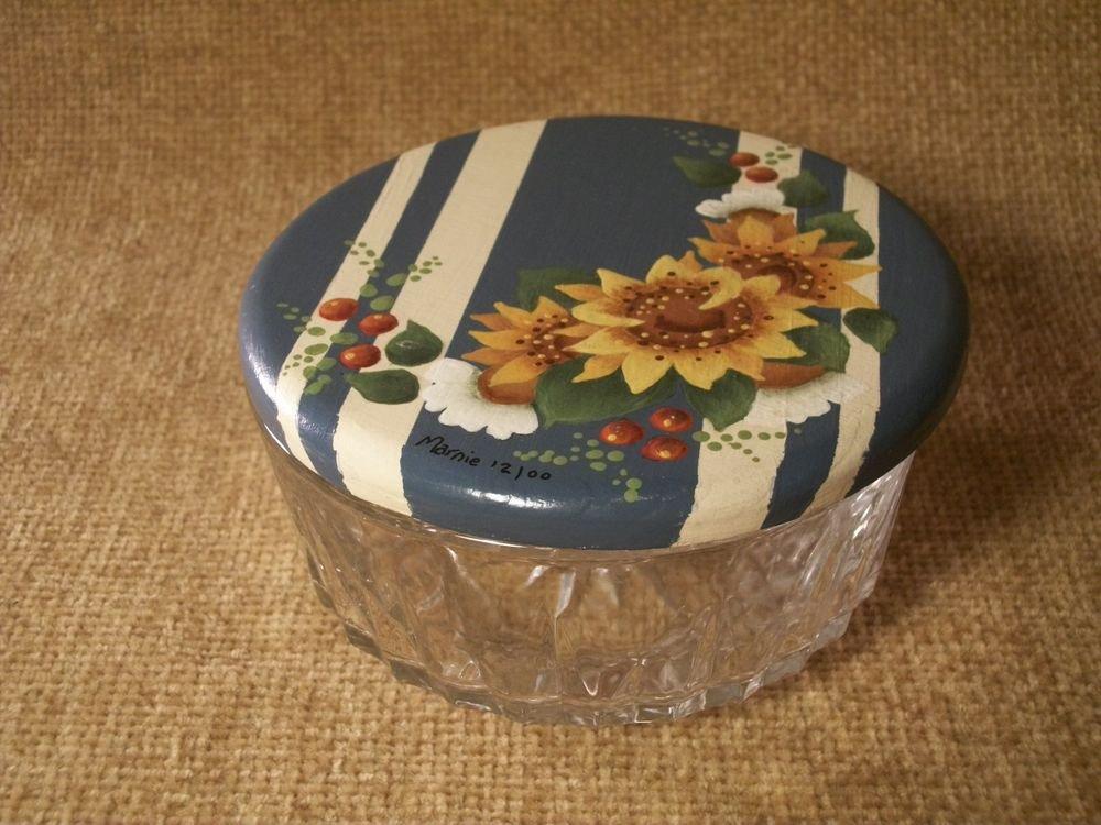 Yellow Sunflowers Covered Candy Dish Ornate Bowl Trinket Box Handpainted Art