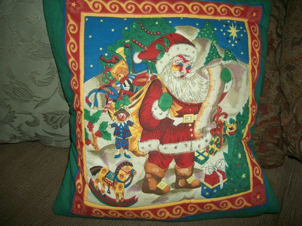 """Vintage 15"""" Square Quilted Pillow Cover, Christmas Design Santa Toys Green Red"""