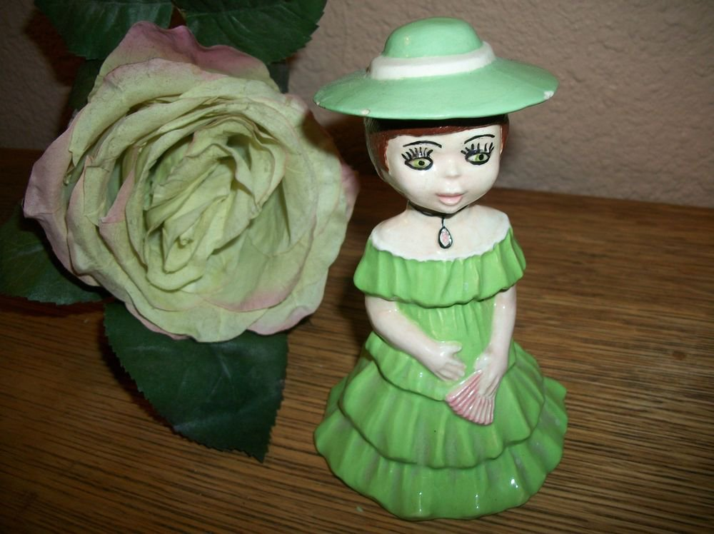 Southern Belle Figurine Hand Painted VTG Ceramic Girl Green Ruffled Dress Hat