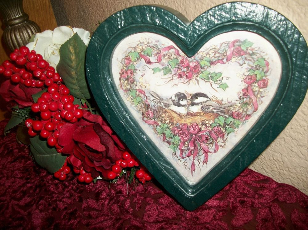 Floral Heart Wreath Bird's Nest VTG Home Interiors Barbara Mock Framed Art Print