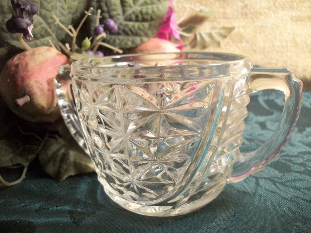 Sugar Bowl Vintage 1950's Anchor Hocking Pressed Glass Stars and Bars Pattern