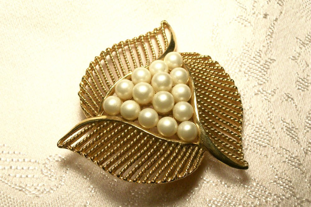 Gold Tone Metal Brooch Leaves and Faux Pearls Triangle Coat Pin 1950's Fashion