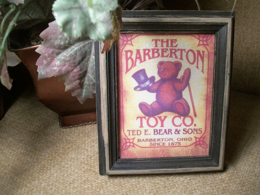 Teddy Bear Top Hat and Cane Advertising Art Print Barberton Toy Company Ohio