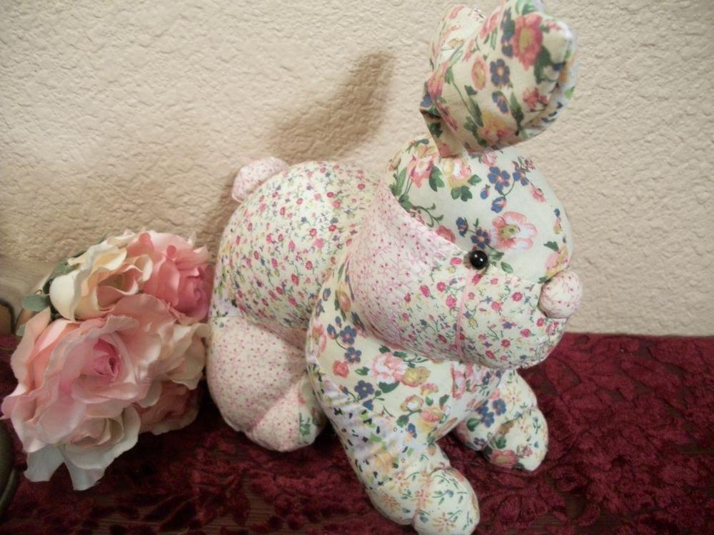 Bunny Rabbit Pink Floral Patchwork Stuffed Animal Vintage Spring Home Decor