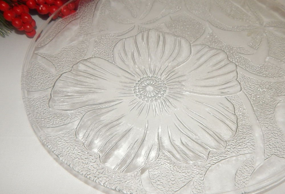 Clear Pressed Glass Serving Platter Plate Tray Floral Vintage 1980's Tableware