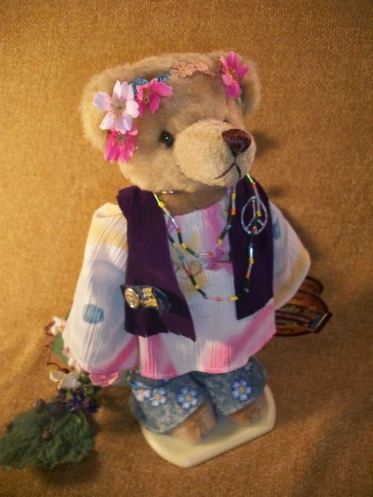 Plush Stuffed Animal Bear 1960's Summer of Love Hippie Flower Child Named Ivy