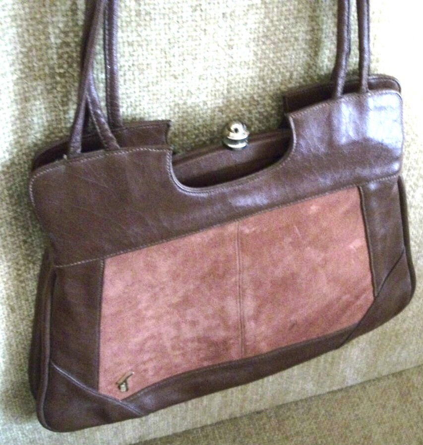 Mr T Handbag Double Strap Multi-Compartment Brown Faux Leather Suede Purse