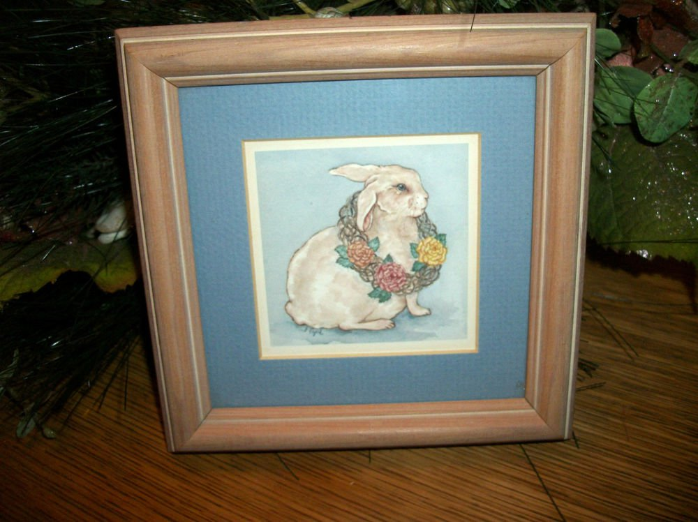 White Bunny Rabbit Original Framed Art Print by Grace Feyock VTG Wall Picture