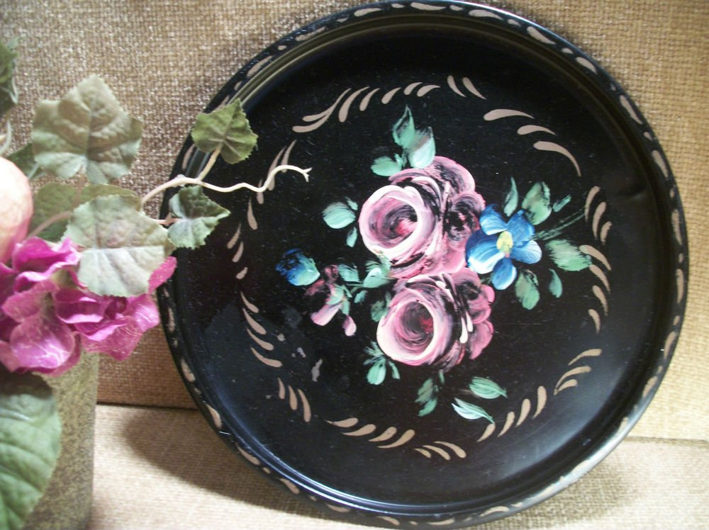 Antique 1930's E T Nash Toleware Round Black Metal Tray Floral Design Pink Roses