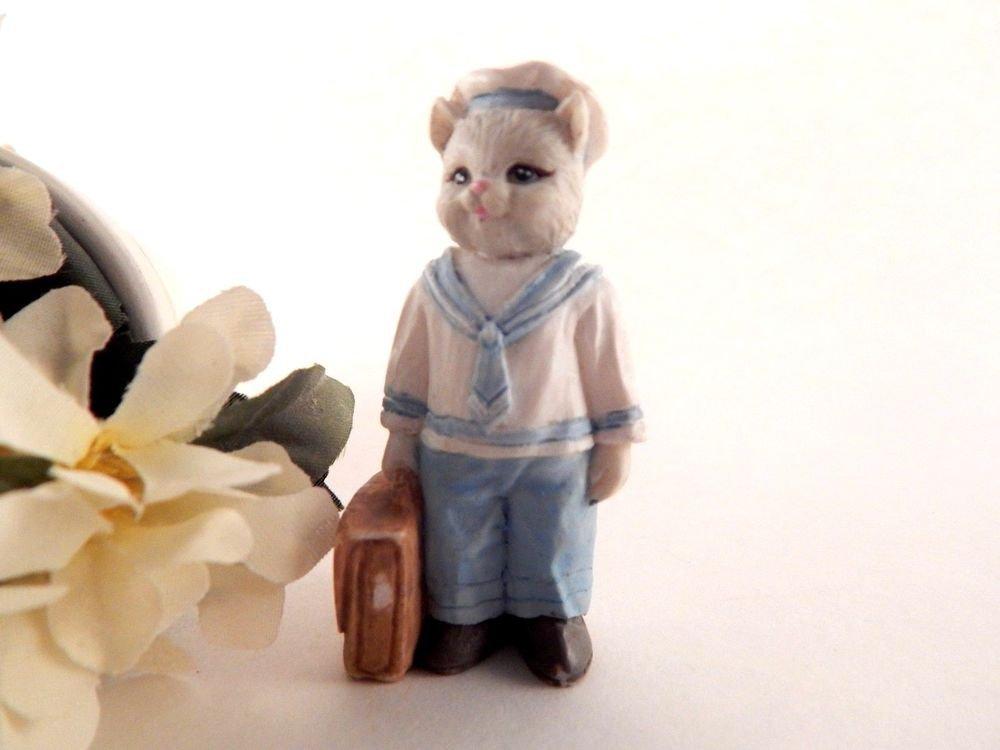Miniature Grey Cat Navy Uniform Traveling Kitty Cucumber Style Vintage Figurine
