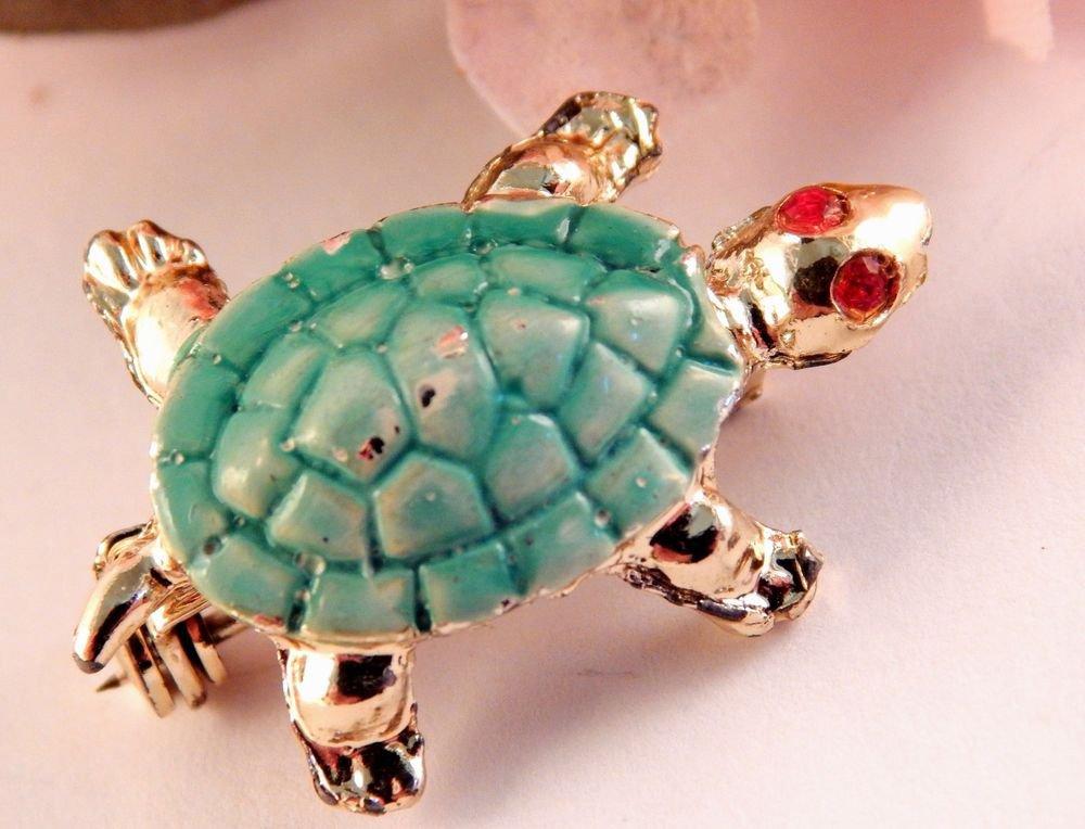 Green Turtle Brooch Enamel Tortoise Lapel Pin Vintage 1950's Rhinestone Jewelry