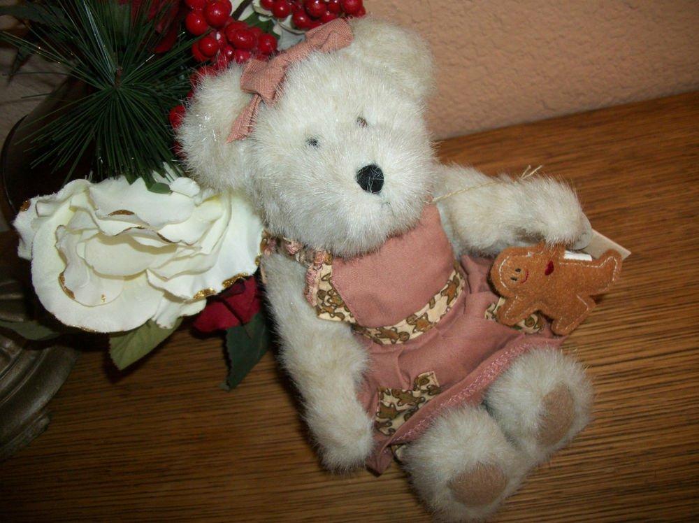 "BOYDS Bear Mary Kate Gingerbeary 8"" Plush Stuffed Animal #913937 Mauve Dress"