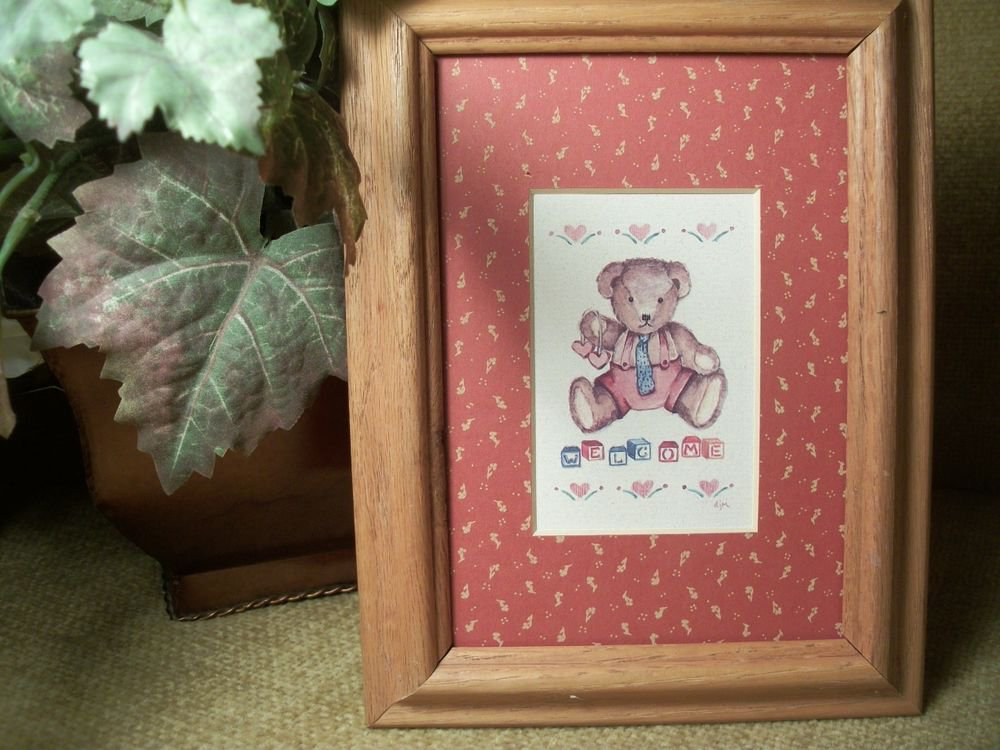 Teddy Bear Welcome Blocks and Hearts Oak Framed Art Print by DJM