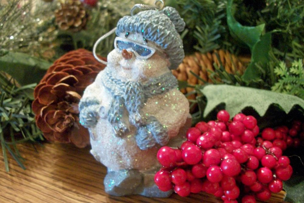 White and Blue Snowman Wearing Sun Glasses Gilttery Christmas Tree Ornament