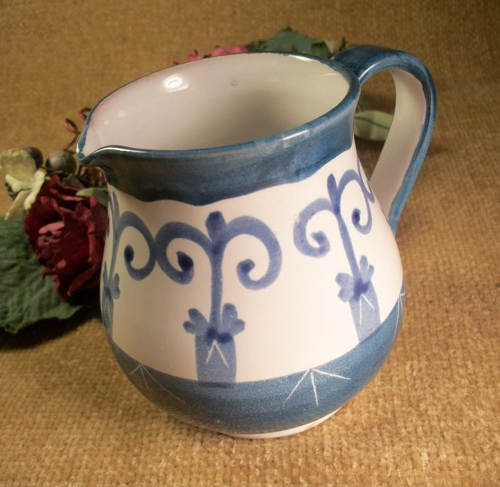 Hand Crafted Blue and White Ceramic Pottery Sauce Syrup Gravy Serving Pitcher