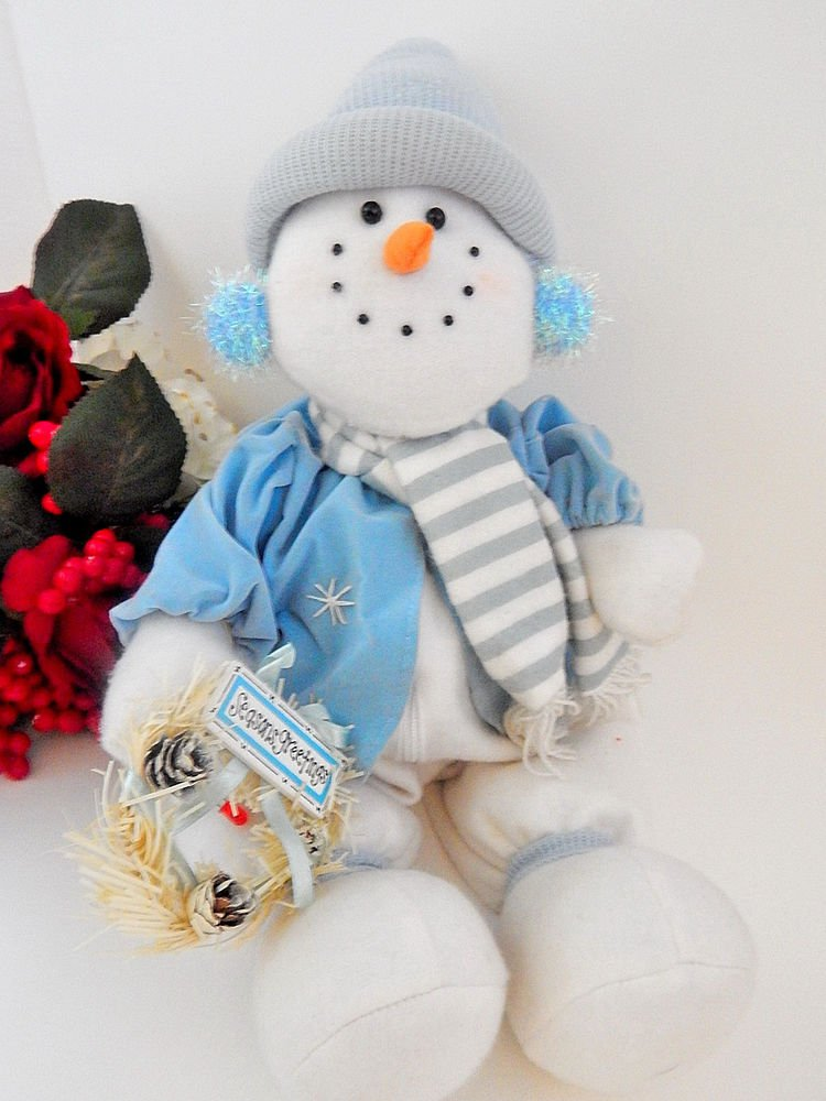 Snowman Doll Music Box Light Up Blue and White Doll Christmas Decoration