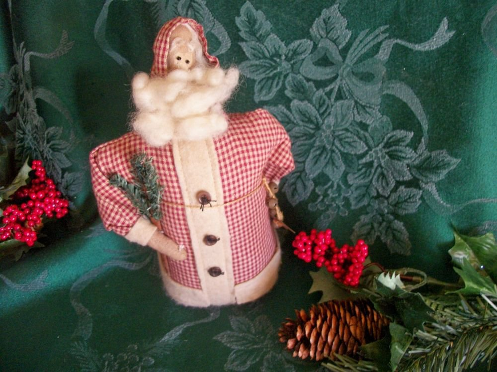 Santa Claus Fabric Folk Art Doll Soft Sculpture Figurine Christmas Home Decor