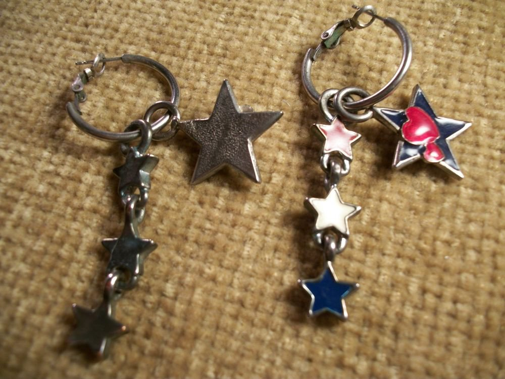 Red and Blue Star Charms on Hoops Dangle Earrings Patriotic Fashioin Jewelry