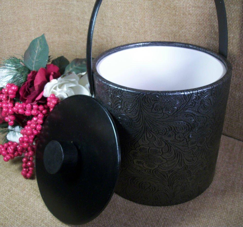 Ice Bucket Vintage Irvinware Black Metallic Floral Paisley Vinyl Bar Accessory