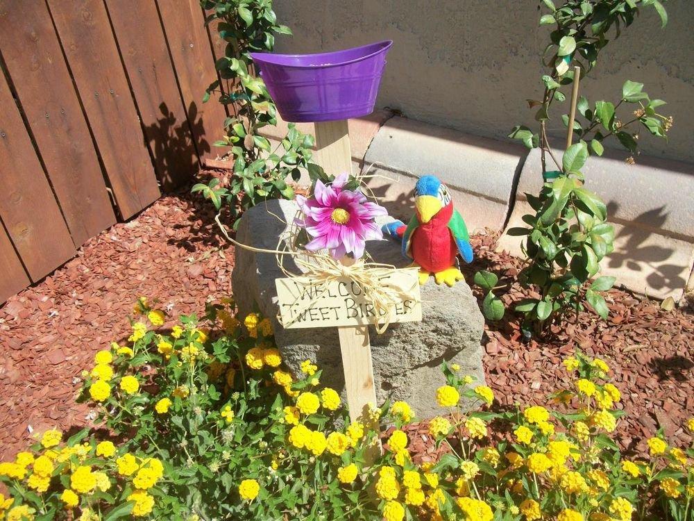 Welcome Tweet Birdies Bird Feeder New Handmade Purple Dish and Flower Yard Art