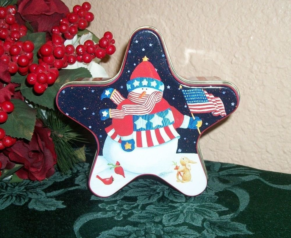Star Shaped Metal Box American Flag Snowman Red White Blue Patriotic Home Decor