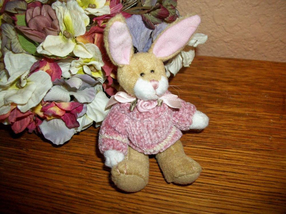 """Bearington Bunny Rabbit 5"""" Brown Stuffed Plush Animal Collectible Home Decor"""