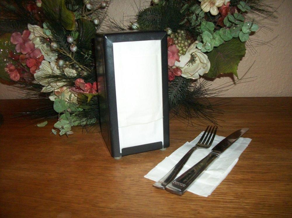 Paper Napkin Dispenser Diner Style VTG Black Metal Commercial Restaurant Supply