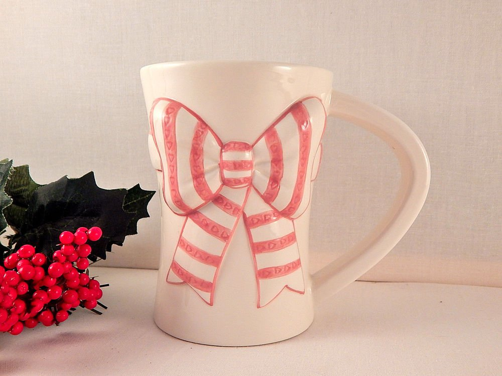 Pink and White Bow Coffee Cup Hand Painted Ribbon Ceramic Mug FTD Flower Vase Gift