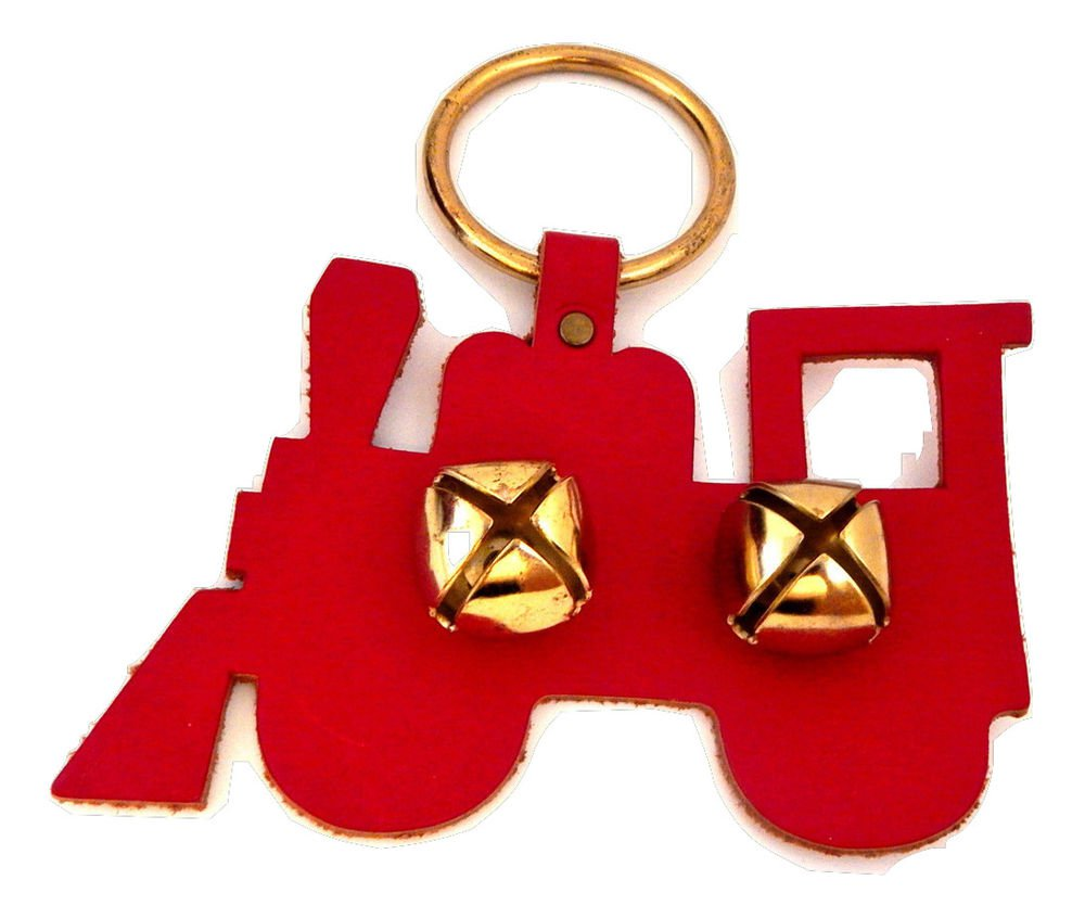 Jingle Bells Door Knob Hanger Red Leather Train Silhouette VTG Christmas Decor