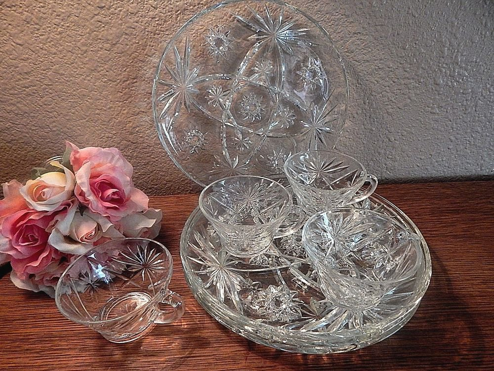 Dessert Serving Dishes Snack Set Cup Plate Vintage Anchor Hocking EAPG Prescut