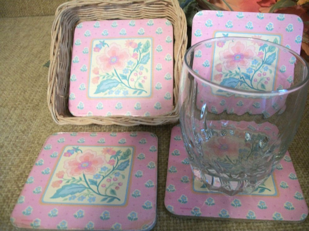 Coasters Barware Four Paste Floral Cork Backed Glass Mats in Wicker Basket
