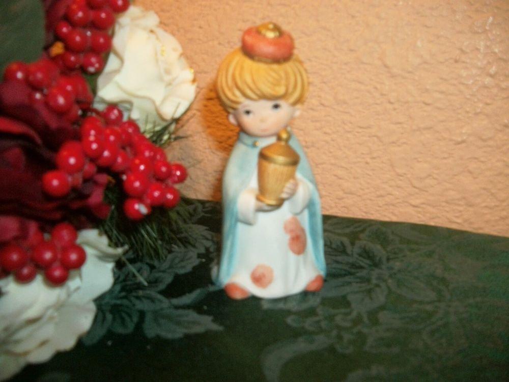 Porcelain Christmas Figurine Boy King Wise Man Nativity Vintage Holiday  Decor