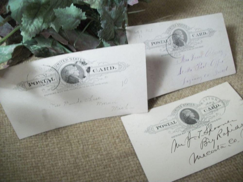 Antique 1890's Pioneer Era 1 Cent Penny Postal Cards USA Paper Ephemera