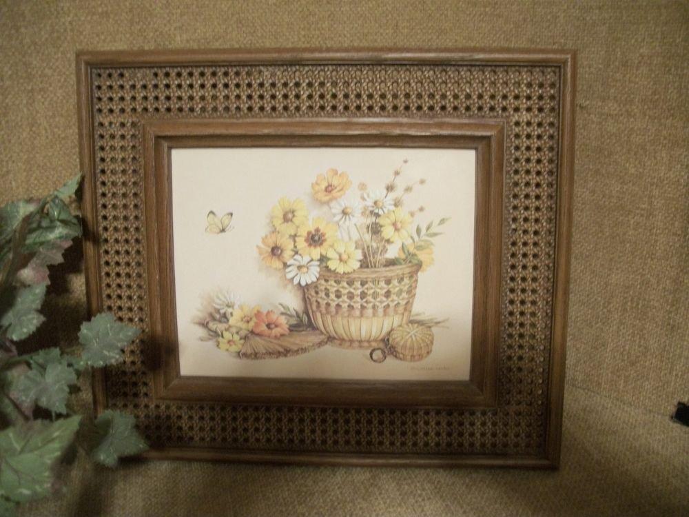 Baskets Flowers and Butterflies Framed Art Print Vintage Homco, Claudessa Carter