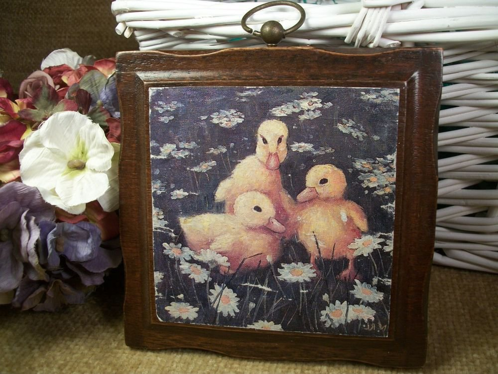 Baby Ducks Wall Hanging Yellow Ducklings Decoupage Plaque Vintage Home Decor