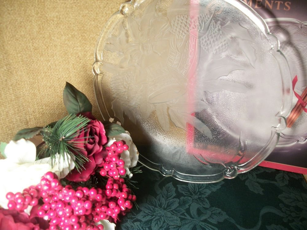"""Glass Christmas Serving Plate Holiday Bells Pattern 13"""" Platter Vintage Tray"""