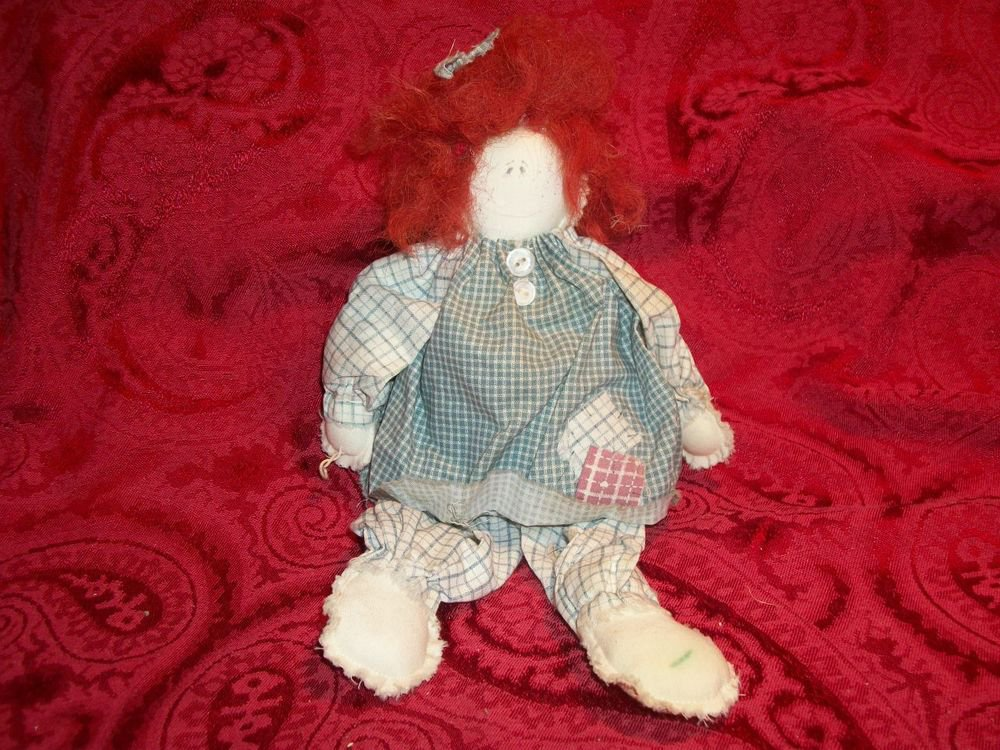Handcrafted Soft Sculpture Redhead Bad Hair Day Muslin Rag Doll Blue Plaid Dress