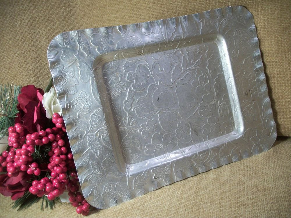 Aluminum Serving Tray VTG 1950's Entertaining Fruit Floral Design Rectangle Dish