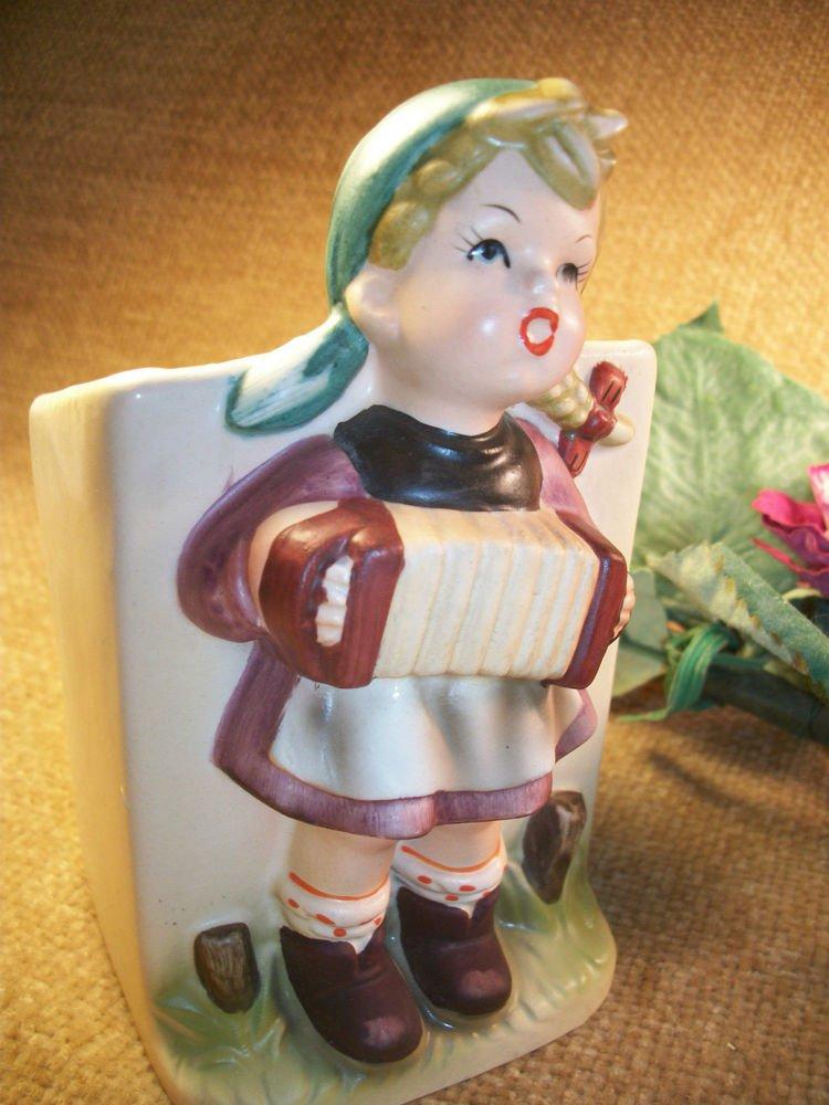 Hummel Style German Girl Playing Accordion VTG 1950's Ceramic Planter Figurine