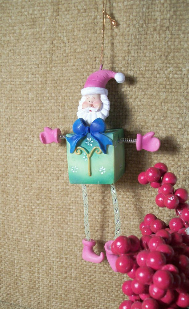 Whimsical Lime Green and Pink Block Santa Christmas Ornament Wiggly Legs Arms