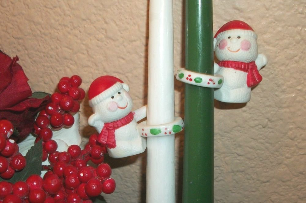 Snowmen Candle Climbers 2 VTG Porcelain Christmas Winter Holiday Table Figurines