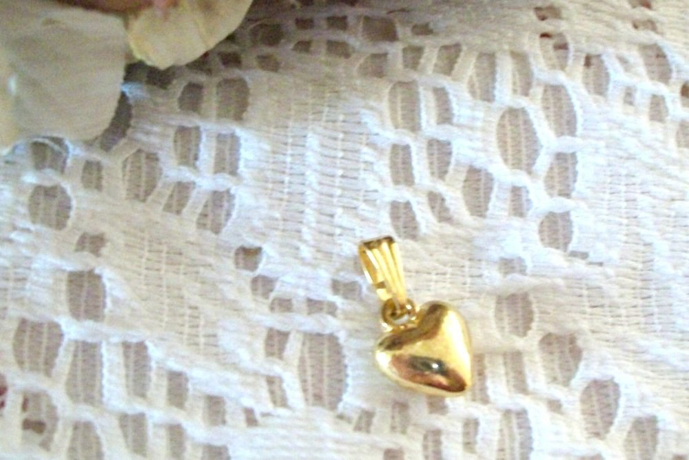 Puffed Heart Pendant Gold Metal Amulet VTG Costume Jewelry Valentine's Day Gift