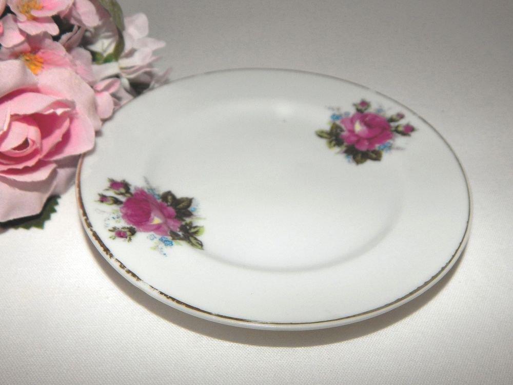 Porcelain Plate Pink Rose Saucer Butter Dish Vintage Cottage Shabby Mint Tray