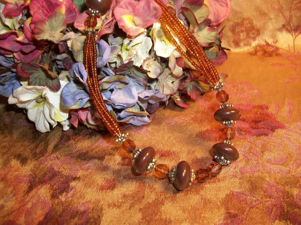 Amber Brown Beaded Necklace Vintage Seed Bead Faceted Beads Adjustable Length