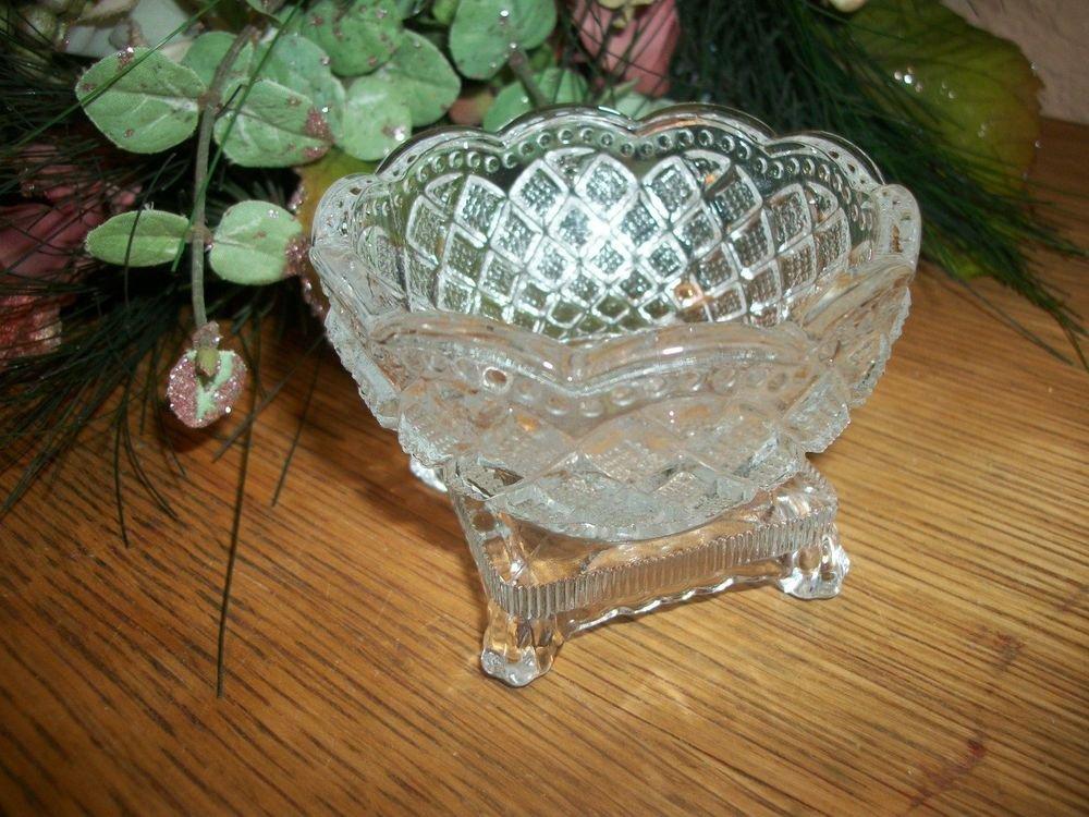 Crystal Jewelry Trinket Dish AVON Fostora Dresser Vanity Bowl VTG Collectible